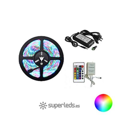 Imagen de KIT Tira LED SMD5050 IP65 30 led 12V 7,2W RGB